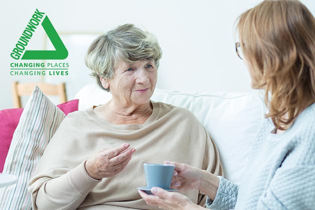 woman asking an senior